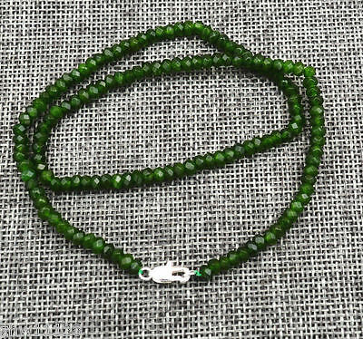 Beautiful New 2x4mm Faceted Natural Emerald Abacus Gems Necklace 18''