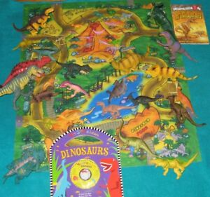 Dinosaur Books and 30 toy dinosaurs with playmat