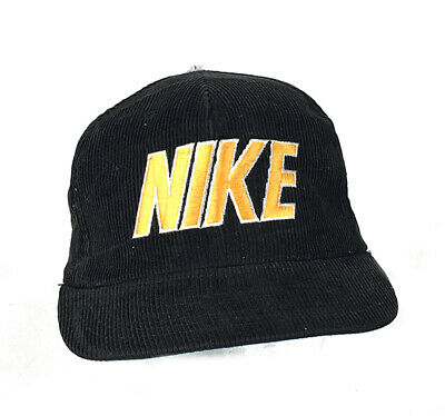 VTG NIKE Black Gold Corduroy Baseball Snapback Trucker Hat Yupoong 80s 90s