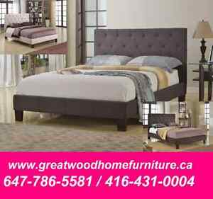 BRAND NEW GREY FABRIC UPHOLSTERY BED...$299