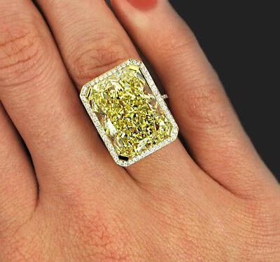 22.63 carat Radiant Fancy Intense Yellow Halo Style GIA Certified Diamond Eng...
