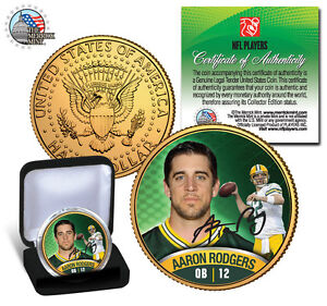 AARON-RODGERS-GREEN-BAY-PACKERS-24KT-GOLD-JFK-HALF-DOLLAR-SIGNATURE-COIN