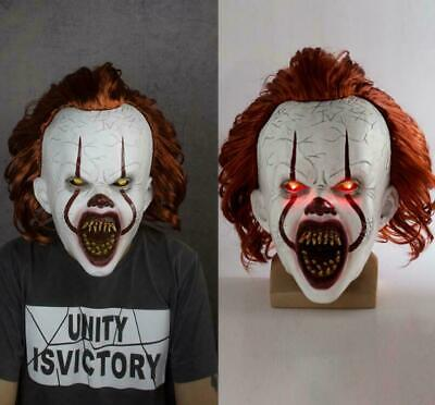 Scary Clown Props (It Chapter Two Scary Clown Pennywise LED Lights Mask Cosplay Halloween)