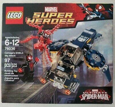 LEGO SET # 76036 MARVEL SUPER HEROES CARNAGE'S SHIELD SKY ATTACK 100% COMPLETE