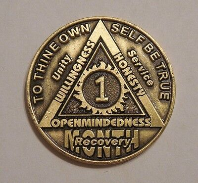 aa bronze alcoholics anonymous 1 month recovery sobriety coin token medallion for sale  Philadelphia