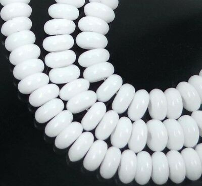 50 Czech Glass Rondelle Beads - Opaque White 4x2mm