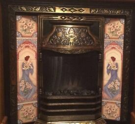 Brass Cast Iron Fireplace with Surround and Electric Fire