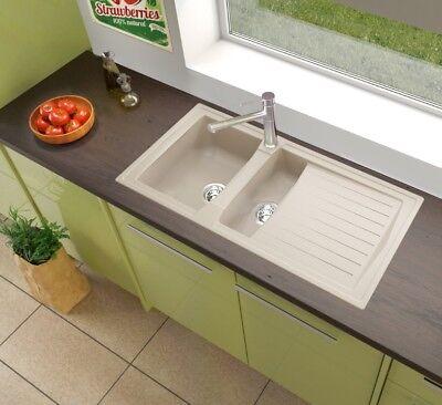 Spüle Küchenspüle Einbauspüle Mineralite Spülbecken 100 x 50 sandbeige respekta