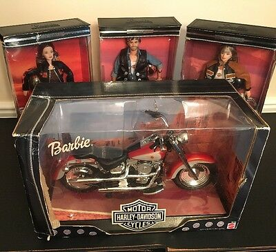 Set of 4 HARLEY DAVIDSON 1999 FAT BOY Motorcycle, 2 Barbies & Ken Dolls