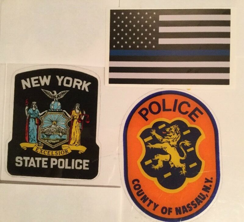 NY State Police + Nassau County Police OFFICIAL In/Window F/O Decal Flag Sticker