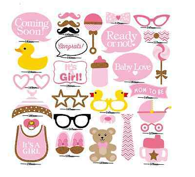 29PCS Baby Shower Party Baby Bottle Masks Photo Booth Props On A Stick Girl Pink - Props On Sticks