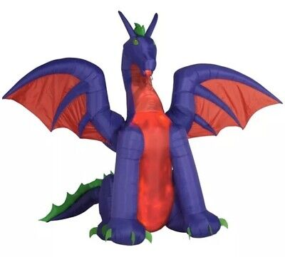 Haunted Living 11 ft Animated Airblown Inflatable Dragon Red Purple Gemmy New