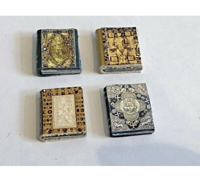 X4 TUDOR MEDIEVAL LEATHER BOOKS FOR  A 1/12 SCALE DOLLS HOUSE