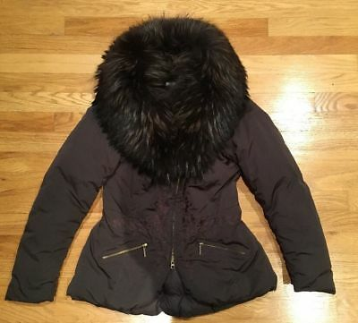 Fox Fur Design (Zhero Brown Fox Fur Shawl Trim Down Coat Embroidered Size S Small Italian)