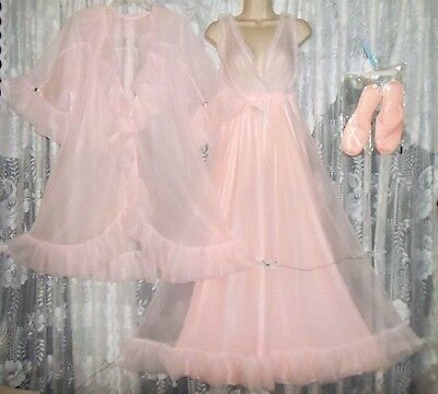 VTG INTIME SHEER PINK CHIFFON Peignoir Robe Nightgown Negligee Slippers NEW L XL