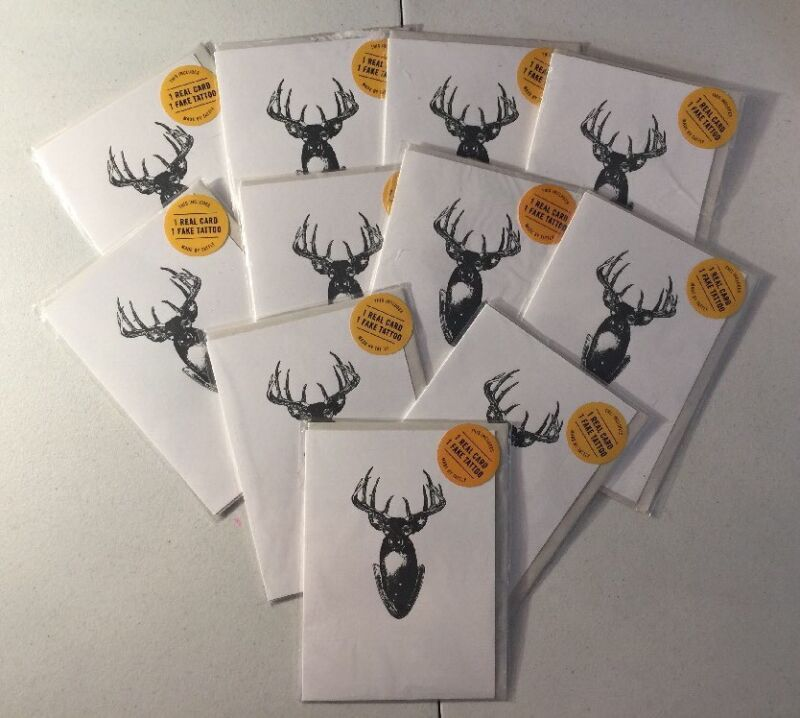 Greeting Hunter Deer Temporary Tattoos & 11 Note Cards Tattly Stag Head