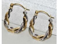 PRETTY 9CT GOLD CREOLE EARRINGS WHITE & YELLOW GOLD