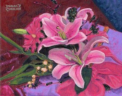 Lilies Oil Painting - ORIGINAL OIL PAINTING, FLOWER ARRANGEMENT BEAUTIFUL LILIES, Listed Artist NR!