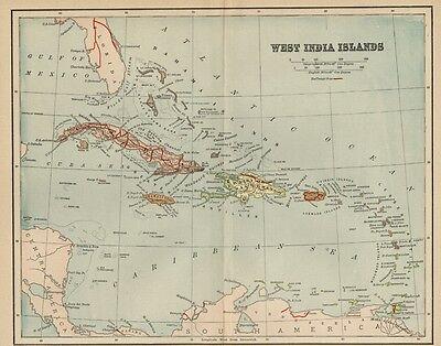 West Indies Map: 1891 Cuba, Jamaica, Puerto Rico, Virgin & Bahama Islands