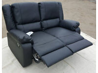 Brand New Bruno 2 Seater Leather Eff Manual Recliner Sofa - Black