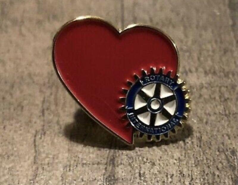 "Rotary International Lapel Pin 3/4"" Heart Enamel Metal Small Red"