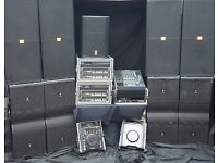 jbl vertec system 12k24k sound system hire night club wedding venue crown 12k amps mixer radio mics