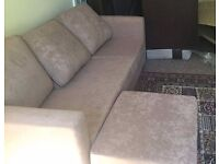 Light brown sofa snd footstool