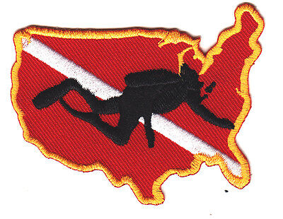 USA - SCUBA DIVER DOWN - Iron On Embroidered Patch w/Gold Border/Diver