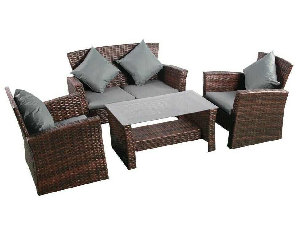Garden Furniture - Rattan Garden Furniture Patio Sofa Mixed Brown Conservatory Lounge Armchairs Set