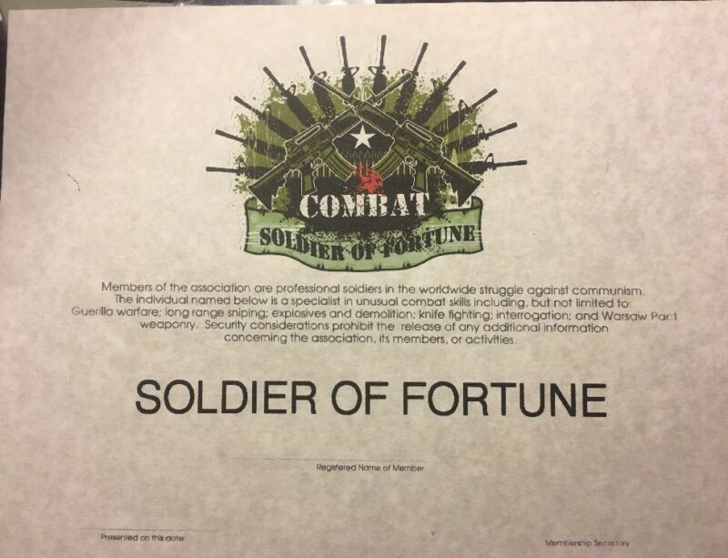 """SOLDIER OF FORTUNE Army Certificate Comes Blank Fill In Own Info.81/2"""" X 11"""