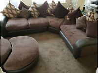 Corner sofa, swivel chair and poufet