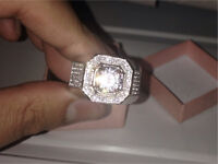 Silver diamond ring icey 10kt