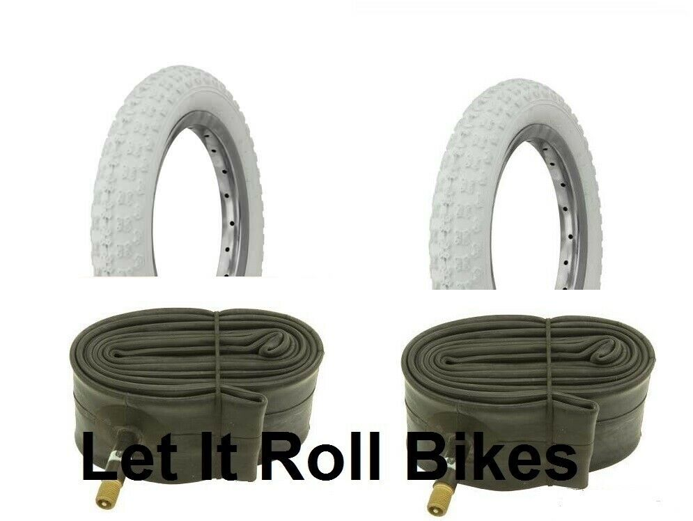 "Bicycle 2 Tires 2 Tubes 14"" x 2.125 All White BMX Cruiser Lo"