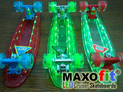 MAXOfit® Mini Penny Retro Cruiser Skateboard mit LED Leuchten, ABEC 9,  ()