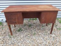 Vintage retro teak wooden Danish mid century 60s 70s office work desk