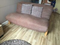 FUTON COMPANY LINEAR Sofa bed With 2 Seater Double Chequers Futon Cover + 2 Back Cushions + DELIVERY