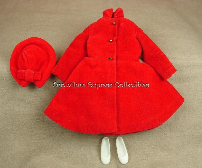 "Vintage Barbie ""Skipper's 1964-65 Red Velvet Dress Coat #1906"" Original Mattel"