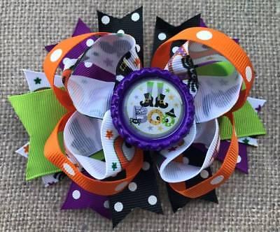 Halloween Orange Black Green Purple Witch Boots Boo Bottlecap Hair Bow 4 - Halloween Boots Purple
