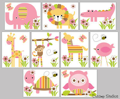 Safari Animals Decals Baby Girl Nursery Wall Art Jungle Woodland Mural Stickers ](Baby Girl Safari)
