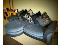 DFS Theo Black/Grey Fabric 4 Seater Lounger Sofa ONLY 7 MONTHS OLD