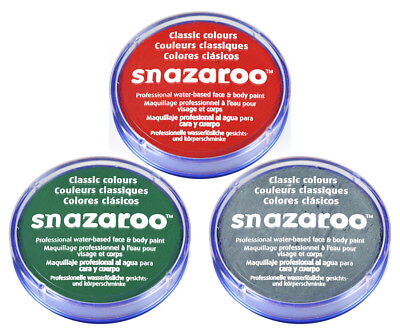 SNAZAROO FACE & BODY PAINT SET 18ml (GREY, RED & GREEN) DEAD ZOMBIE HALLOWEEN