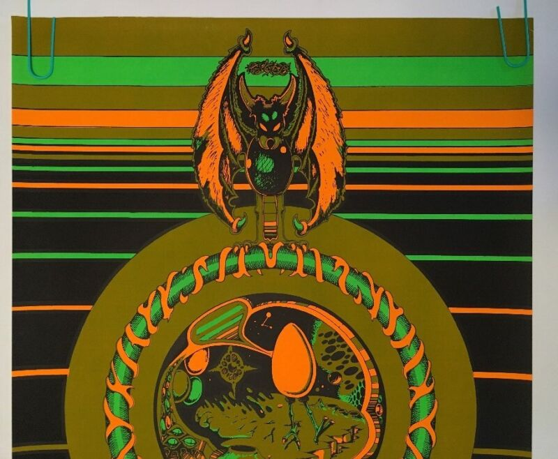 In The Beginning Vintage Houston Blacklight Poster Psychedelic 1970 Pin-up 70/'s