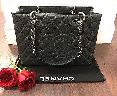 NEW Chanel Dk Gray Quilted Caviar Leather Grand Shopping Tote GST