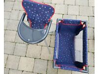 Toy baby high chair & cot
