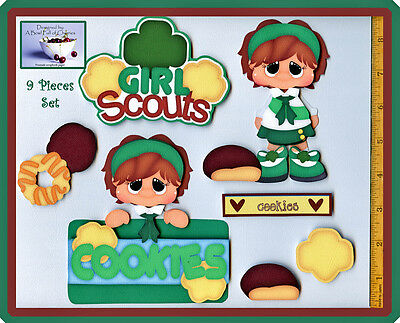 GIRL SCOUT COOKIES ~  premade scrapbook pages 9 pc 3D paper piecing ~ by CHERRY