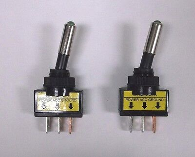 2 Bbt Brand Lighted Green Led Panel Mount Onoff 20 Amp Toggle Switches