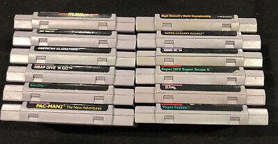 Lot of 12x Super Nintendo SNES Games NBA Gladiators Sim Pac-Man Original