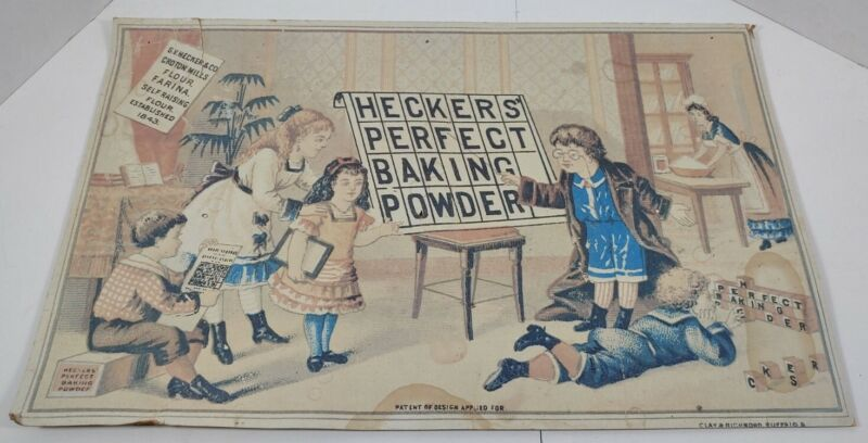 Vintage Heckers Perfect Baking Powder Advertising Grocery Store Sign Cardboard