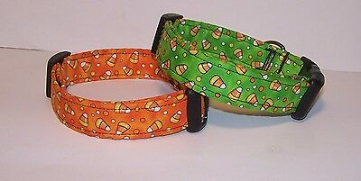 Wet Nose Designs Bright Candy Corn Dog Collar Halloween Orange or Lime CandyCorn - Halloween Candy Dog
