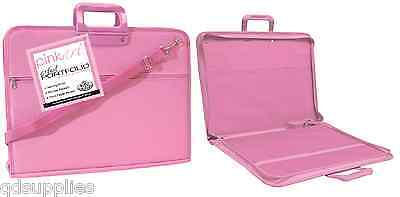 1 X PINK A3 ARTIST PORTFOLIO PAINTING DRAWING STORAGE ZIP UP CARRY CASE PA-FOLIO, used for sale  Shipping to United States